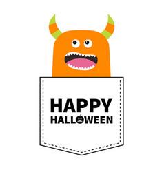 Happy halloween orange screaming monster vector