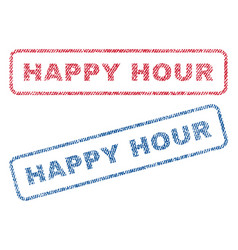 Happy hour textile stamps vector