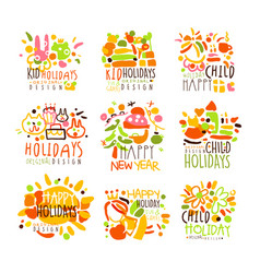 Happy kid holiday colorful graphic design template vector