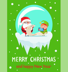 Happy new year merry xmas postcard santa and elf vector