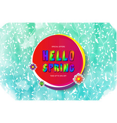 hello spring banner template vector image