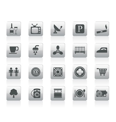 hotel and motel objects icons vector image