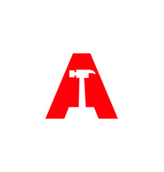 Initial letter a constructions logo with hammer vector