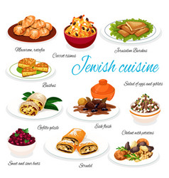 Jewish cuisine traditional food dishes vector