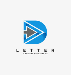 Logo abstract letter d with play colorful style vector