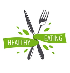 logo fork and knife for a healthy diet vector image