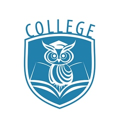 Logo owl and shield for college vector