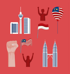 Malaysia and indonesia icons vector