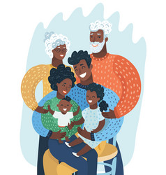 Multi generation black family african american vector