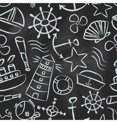 nautical sketch doodle icons seamless pattern vector image
