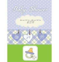 New baby boy shower card vector