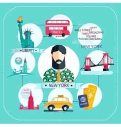 new york icon set vector image