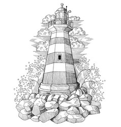 Old light house with waves and clouds vector