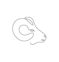 one line ram head design silhouette logo design vector image
