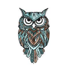 ornate owl zenart for your design vector image