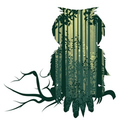 Owl and Abstract Forest Landscape2 vector