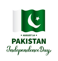 Pakistan independence day calligraphy hand vector