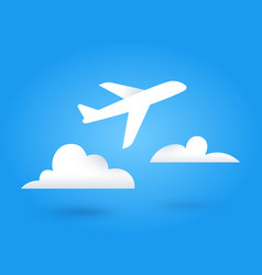 paper flying plane and clouds vector image