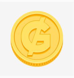 paraguayan guarani symbol on gold coin vector image
