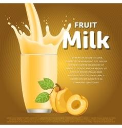 Peach sweet milkshake dessert cocktail vector image