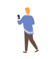 person and smartphone back view isolated character vector image