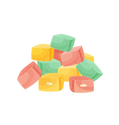 Pile turkish delight or rahat lokum isolated on vector