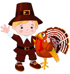 Pilgrim with turkey vector