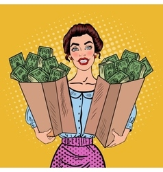 Pop Art Happy Rich Woman Holding Bags with Money vector image