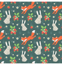 Rabbits and fox seamless pattern vector image