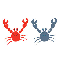 red and blue funny smiling and cry cartoon crabs vector image