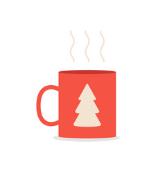 red coffee or tea mug with spruce isolated vector image