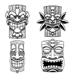 S tiki tribal wooden mask design element vector