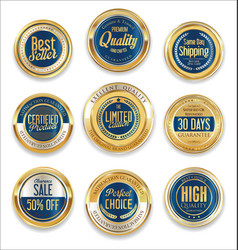 sale retro vintage golden badges and labels 10 vector image