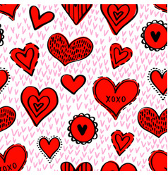 seamless hearts pattern-07 vector image