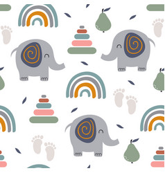 seamless pattern with elephant rainbow pyramid vector image
