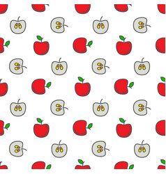 seamless patterns line icons fruit apple vector image