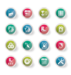 Server side computer icons over colored background vector