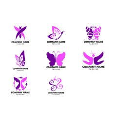 set of butterfly logo template vector image
