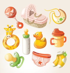 Set of design elements for baby shower vector image