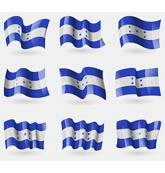 Set of Honduras flags in the air vector image