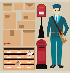 set of postman with letter box vector image