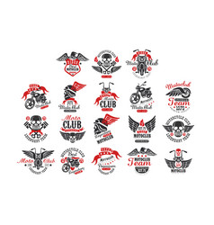 set vintage motorcycle club logos emblems vector image