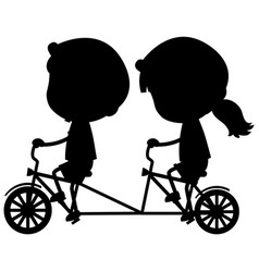 silhouette boy and girl riding bicycle on white vector image