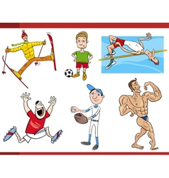 Sportsmen cartoon set vector