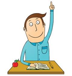Student raising hand vector image