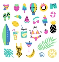 Summer elements collection vector image