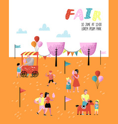 summer fun fair amusement park characters people vector image