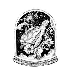 surreal tattoo sea turtle animal design concept vector image