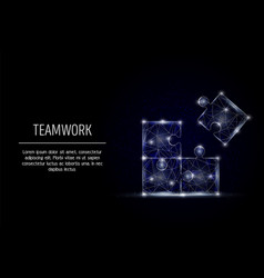 teamwork geometric polygonal art style vector image