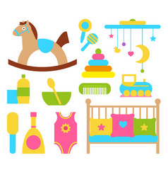Toys and items for children vector